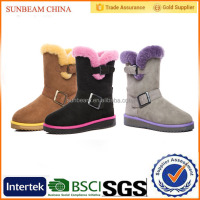 New design winter elegant leather snow boots for women with buckles design