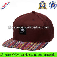 Burgundy/Marron snapback hat with woven label aztec brim custom 5 panel factory snap back hats