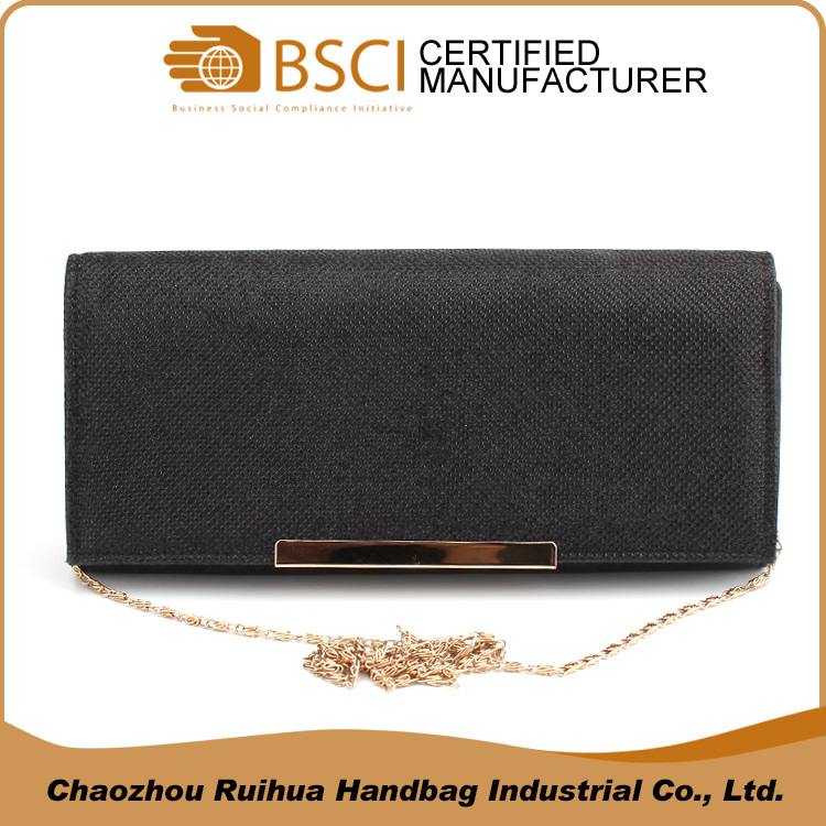 Hot selling fashion clutch bag women hand purse black evening bags