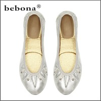 China Factory Manufacture Female Brand Elegent Foldable Ballet Shoes In Bag
