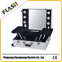Professional Rolling Makeup Trolley case with light with Mirror