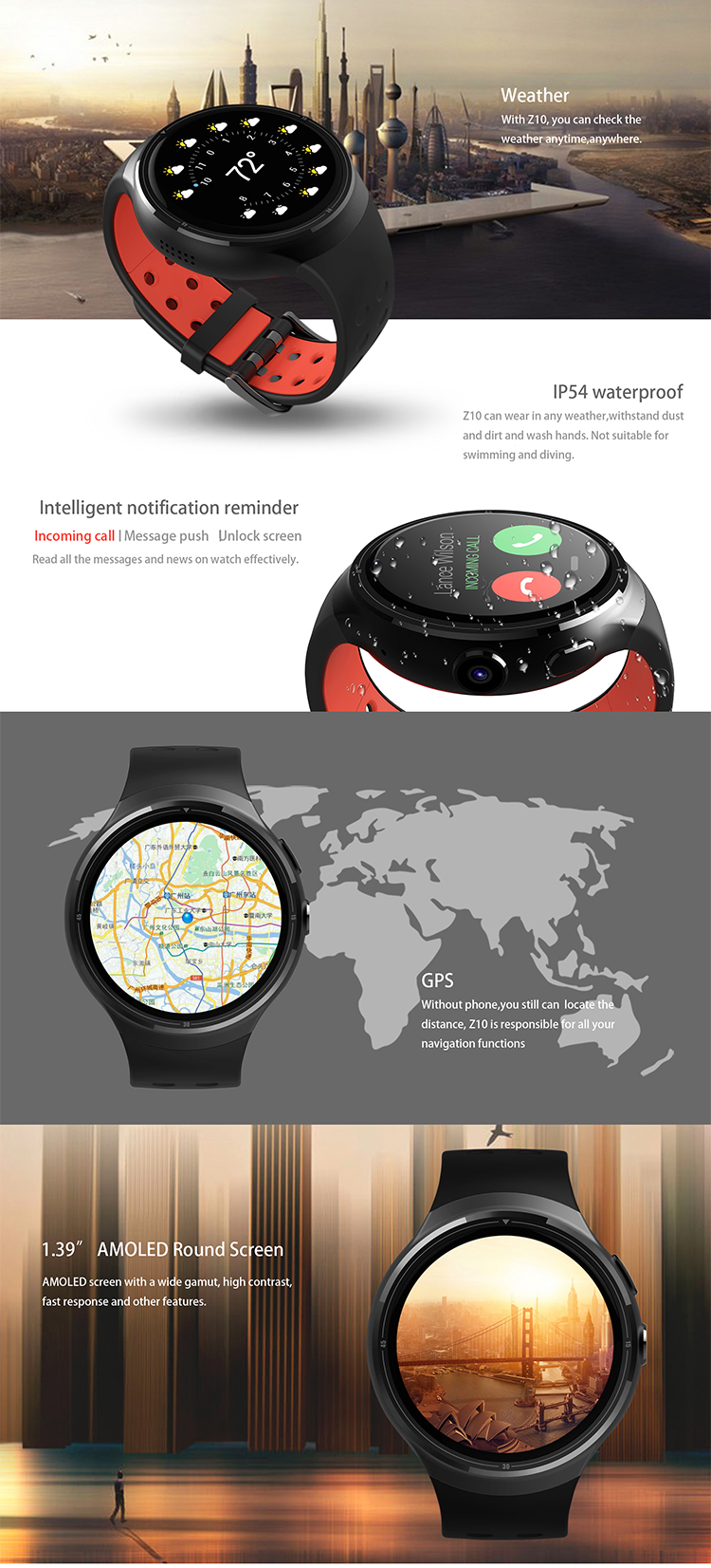 2017 New MTK6580 1.3GHZ Quad-core android smart watch 512MB/8G 3G wifi curren watch men