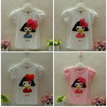 wholesale-brand best quality children clothes short sleeve cotton t-shirt girl pattern with lace bowknot girl t-shirt 9288