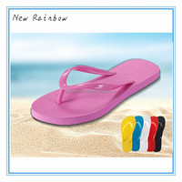 Athletic beautiful girl slippers in funny style