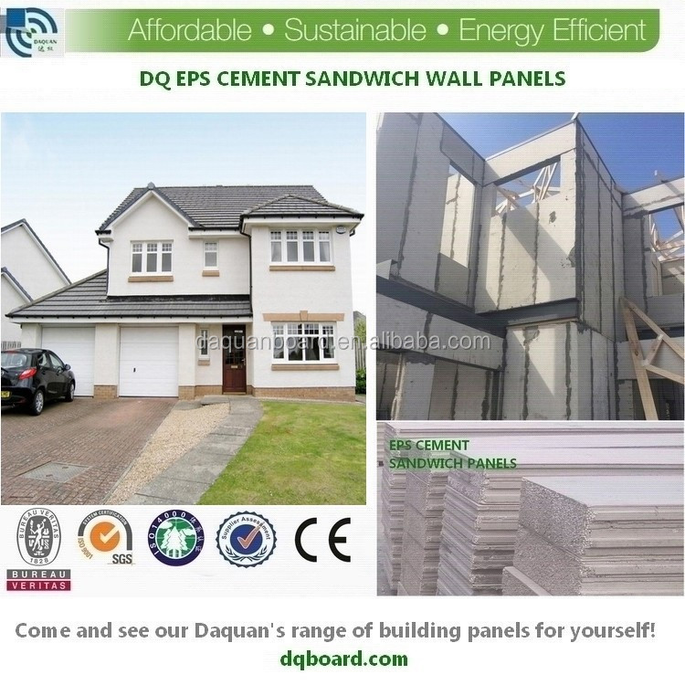 2015 High quality envirmental friendly prefab concrete eps sandwich panel for villas