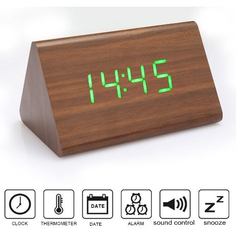 Triangle wooden led table digital alarm clock