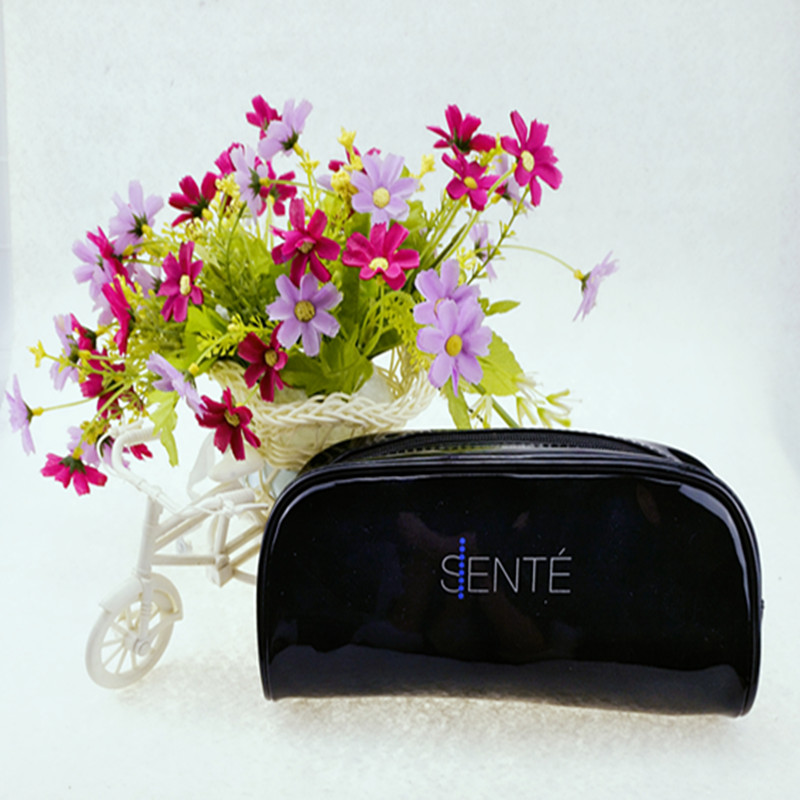 Hot Classical Simple Zipper PU Black Pencil Case