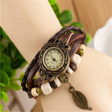 In Stock Ladies Quartz Leather Braided Charm Women wrist lady watch