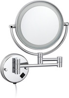 Wall mounted brass makeup mirror / cosmetic mirror with LED light