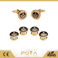 POYA Jewelry Gold Blue Freemason Masonic Cufflinks and Studs