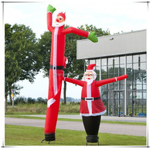 Outdoor funny inflatable Christmas decorations, inflatable Christmas Santa air sky dancer for commercial sale