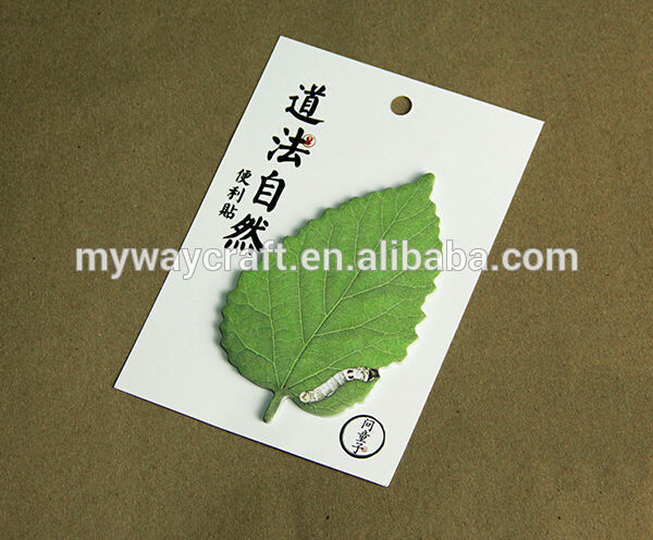 Fancy design chinese style green leaves shaped sticky note with high quality