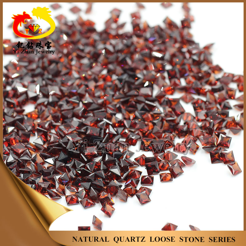 Clear good quality square shaped natural loose gemstone red garnet stone