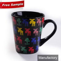 black ceramic stoneware coffee mugs and cups