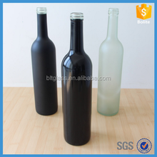750ml round Long Neck Black frosted Glass Red Wine Bottle with cork