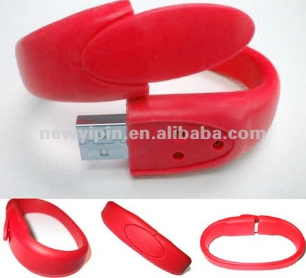 Red Wristband Shape 8GB USB2.0 Flash Pen Drive Silicon Bracelet U Disk