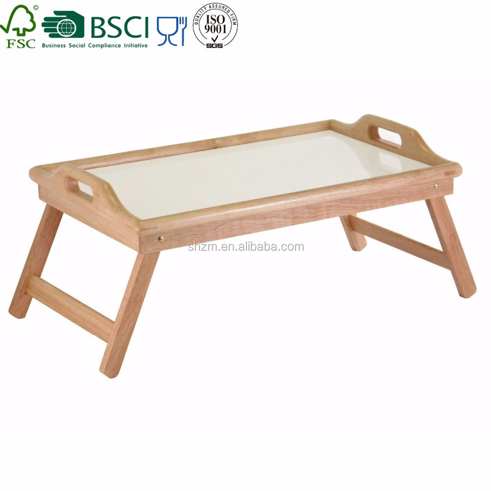 Wood Breakfast serving Bed Tray with Handle Foldable Legs