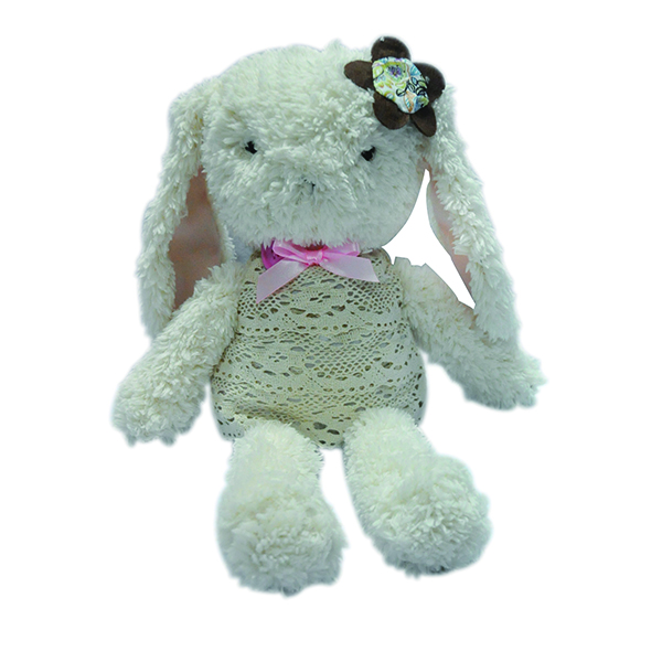 Factory custom stuffed animal white plush girl bunny doll toy with ICTI audit