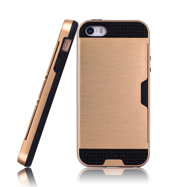 IP5026 Factory Price Cell Phone Case Cover for iPhone 5S Hybrid Case Wire Drawing PC TPU Combo Case