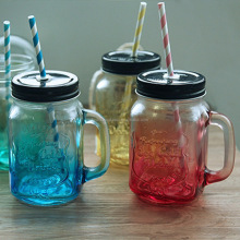 480ml Gradient Color Glass mason jar with handle and straw for beverage