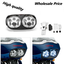 Road glide LED Headlight High/Low Double Headlight for Harley 1Set Dual LED Headlight Assembly