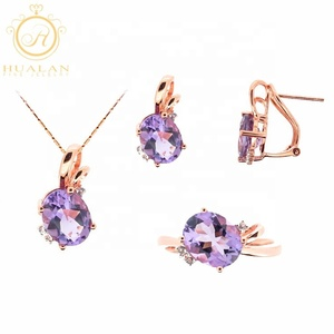 Hot Solid 18K Gold Peand Earring Ring 4 Pieces With Gemstone Women Gold Jewellery Dubai Jewelry Set