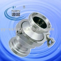 Sanitary thread clamped check valve