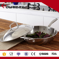 Thicken 32 cm 3 tire steel non-stick pan with safe steel lid
