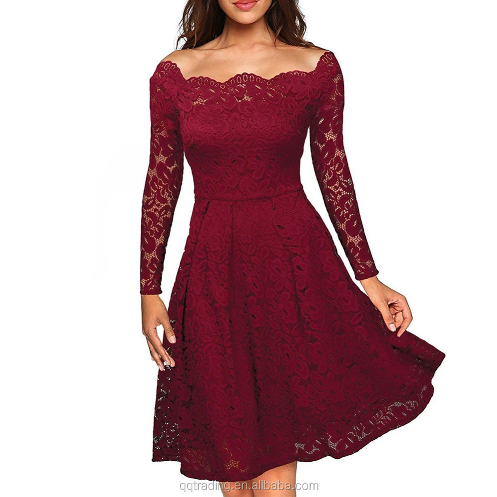 2017 new design red black purple colors polyester off shoulder sexy <strong>dress</strong> women