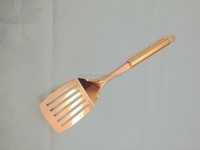 new design popular stainless steel kitchen tools and utensils egg slotted turner with copper plating