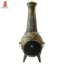 2017 Hot sale new design 53 inch cast iron grape chiminea, wholesale outdoor portable chimenea