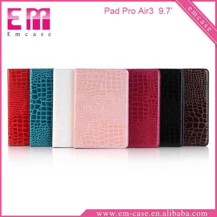 Crocodile Leather Holder Case For iPad Pro Air3, 9.7Inch Wallet Tab Case For iPad