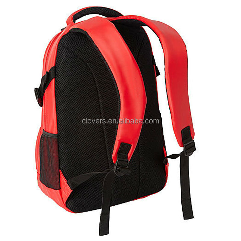 New products red laptop backpack with earphone front pocket