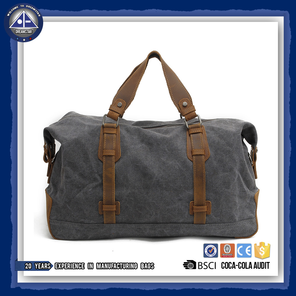 Canvas Leather Trim <strong>Travel</strong> Tote Duffel shoulder handbag Weekend Bag