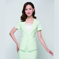 New Fashion Designs Skirt Suit Ladies Fruit Green Suits for Office Wear