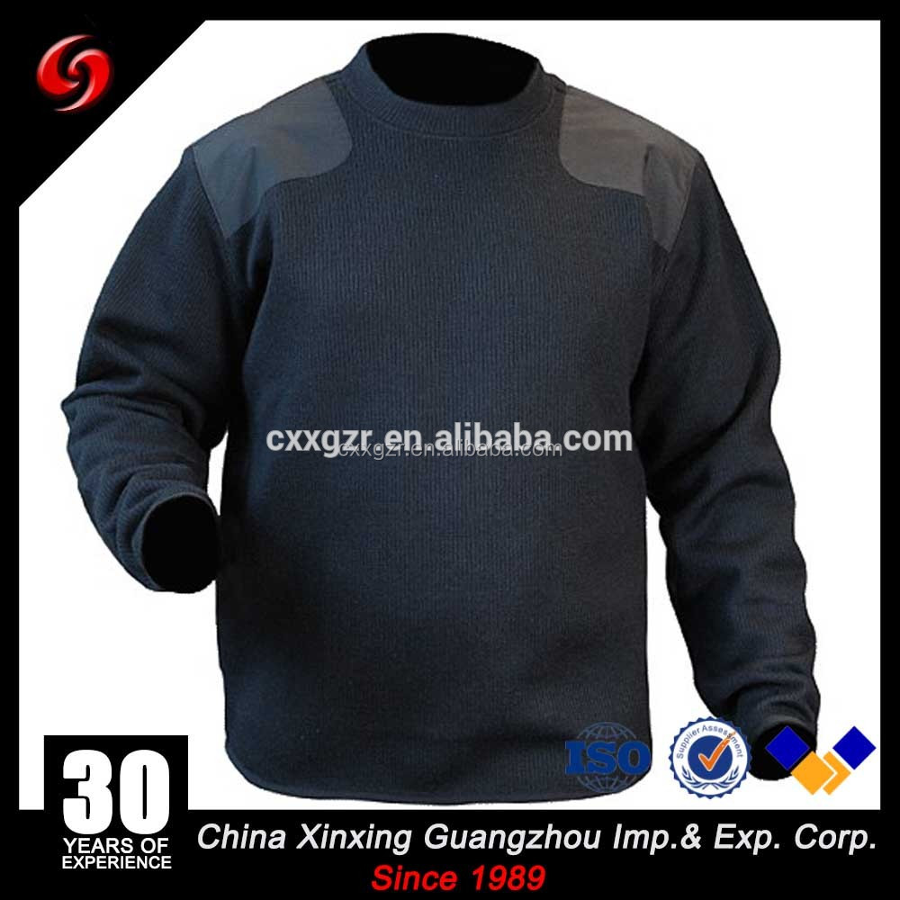 2017 year new arrival knitted navy blue army wool sweater pullover with patches