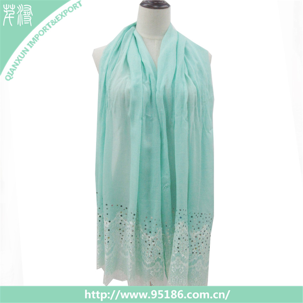 2017 New trend lace sequin mint fashion scarves