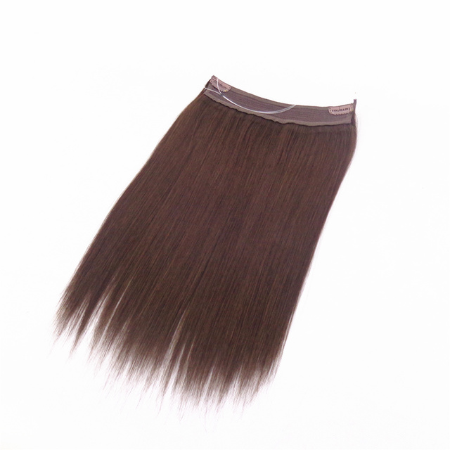 Cheap price peruvian remy hair halo hair extensions 8-30inch straight fish line human flip in halo hair extensions dropship