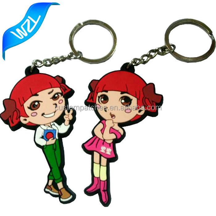 Low price and Low MOQ PVC Keychains and Patch, Promotional OEM plastic keyring