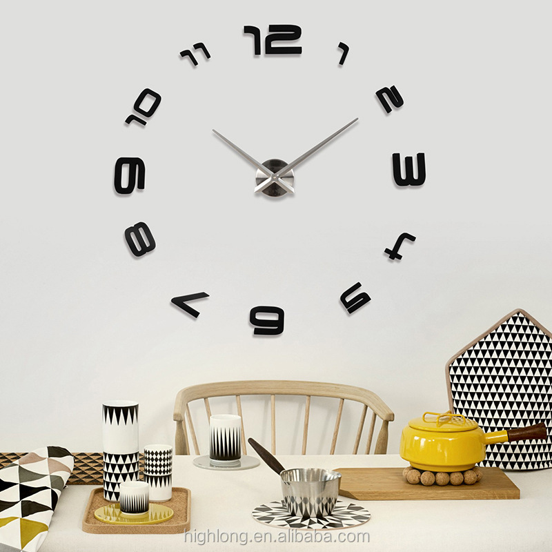 DIY home art popular design watch 3d wall clock art wall clock 3 piece Home Decor Mirror Stickers Art Watch