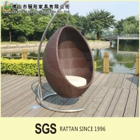 Hammock PE rattan patio hanging swing egg chair for outdoor with waterproof cushion