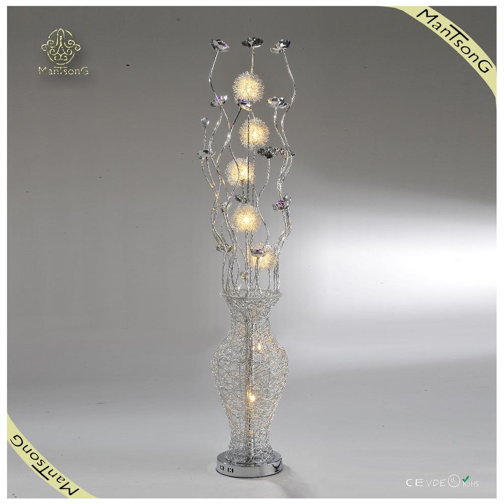 Silver flower vase floor lamp aluminumfloor lamp modern for Aluminium flower floor lamp in silver