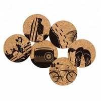 New 2019 Cheap Custom Printed Sublimation Blank mdf Round Cork Coaster for Beer Coffee Drinks Holder with Set of 4