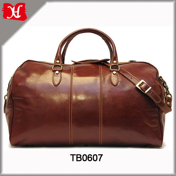 Hot Sell High Quality Big Size Brown Genuine Leather Travel Bag