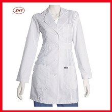 Women white blank polycotton fabric slim fitted lab coats supplier