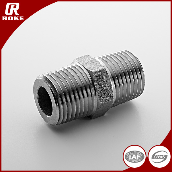 "1 / 4 "" NPT BSP threaded stainless steel hex nipple"
