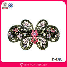 Wholesale large metal vintage diamante butterfly hair barrette