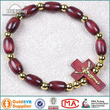 Christian elastic oval wood rosary bracelet with small Jesus cross