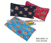 2014 hot selling animal pencil pouch, canvas pencil pouch,nylon pencil pouch binder