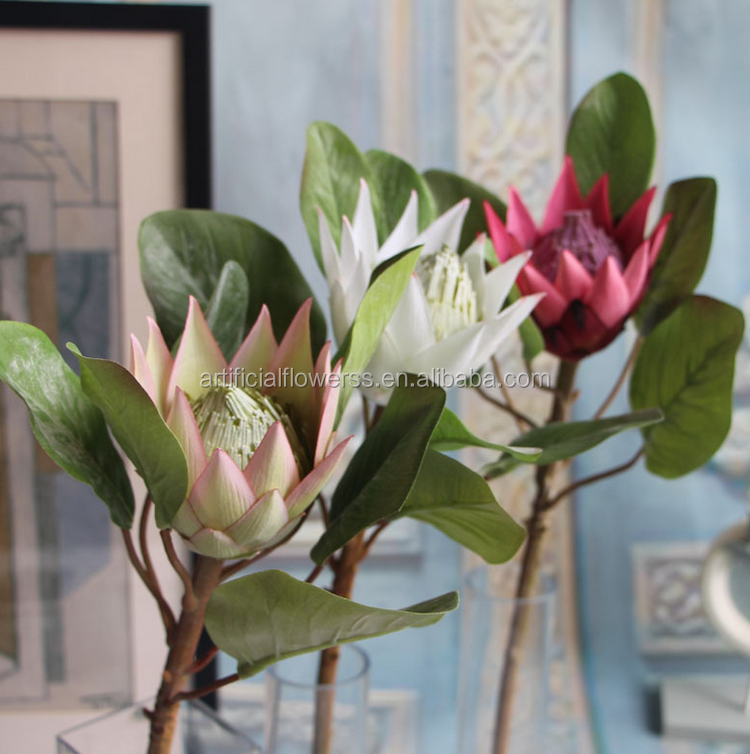 New design Fake Artificial Silk King Protea flower